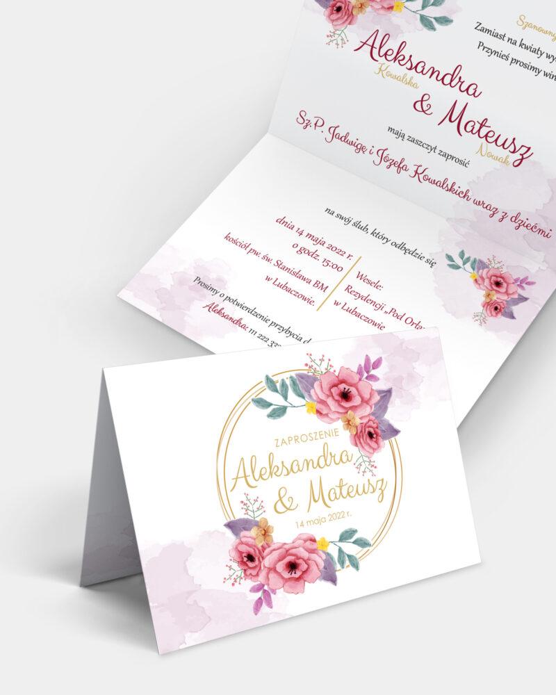 Zaproszenie ślubne Różane A6