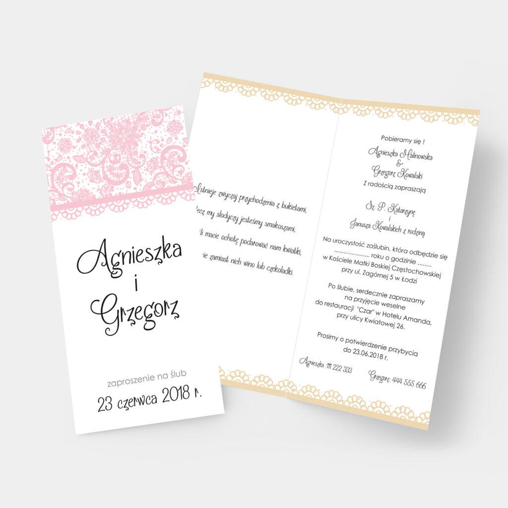 Zaproszenie ślubne Koronkowe DL