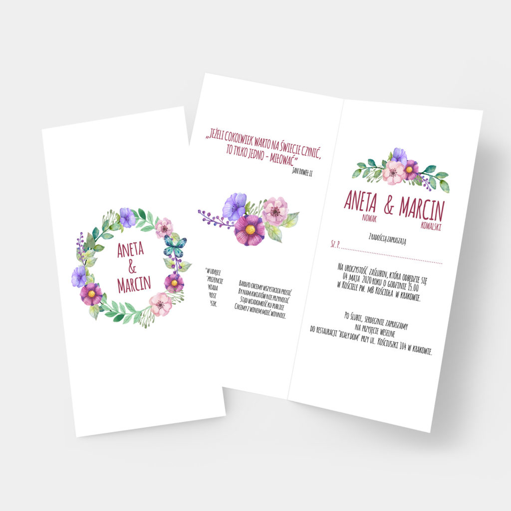 Zaproszenie ślubne Butterfly DL
