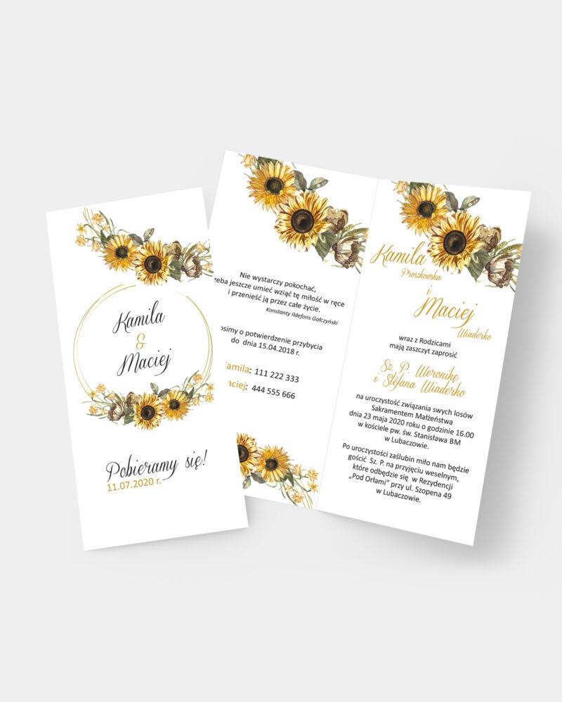 Zaproszenie ślubne Słoneczniki DL