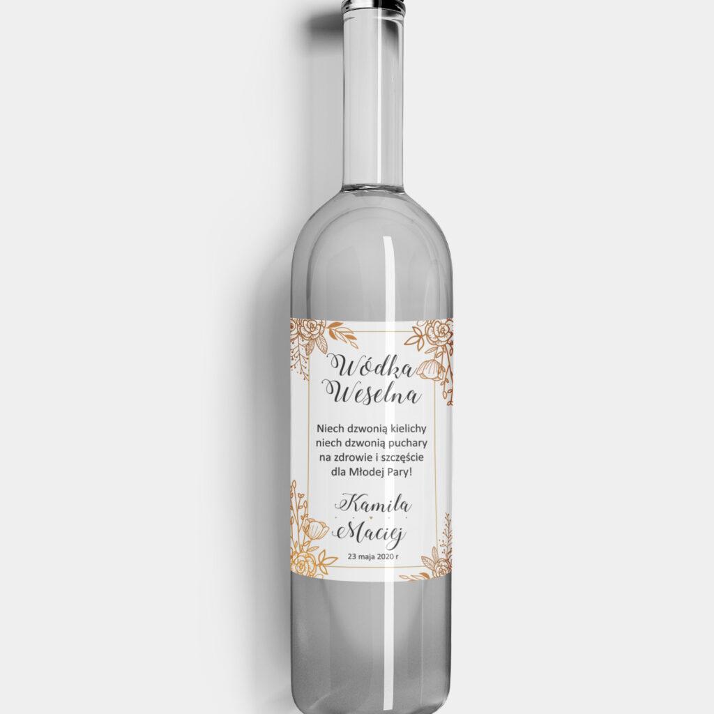 etykieta na alkohol kwiatowe ornamenty