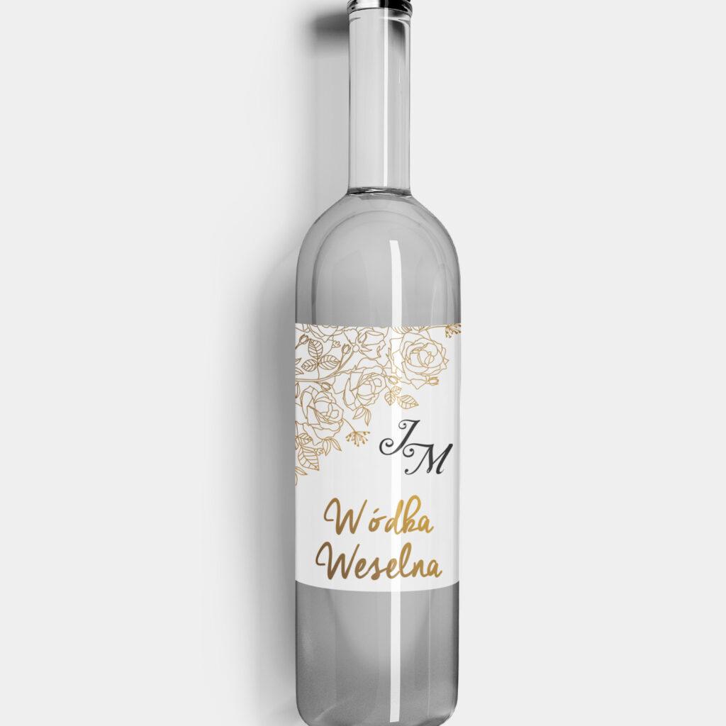 etykieta na alkohol złote róże