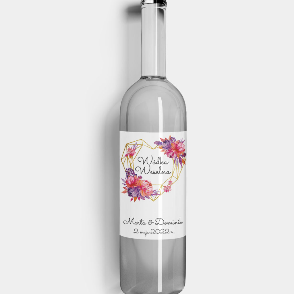 Etykieta na alkohol Kwiatowe Serce