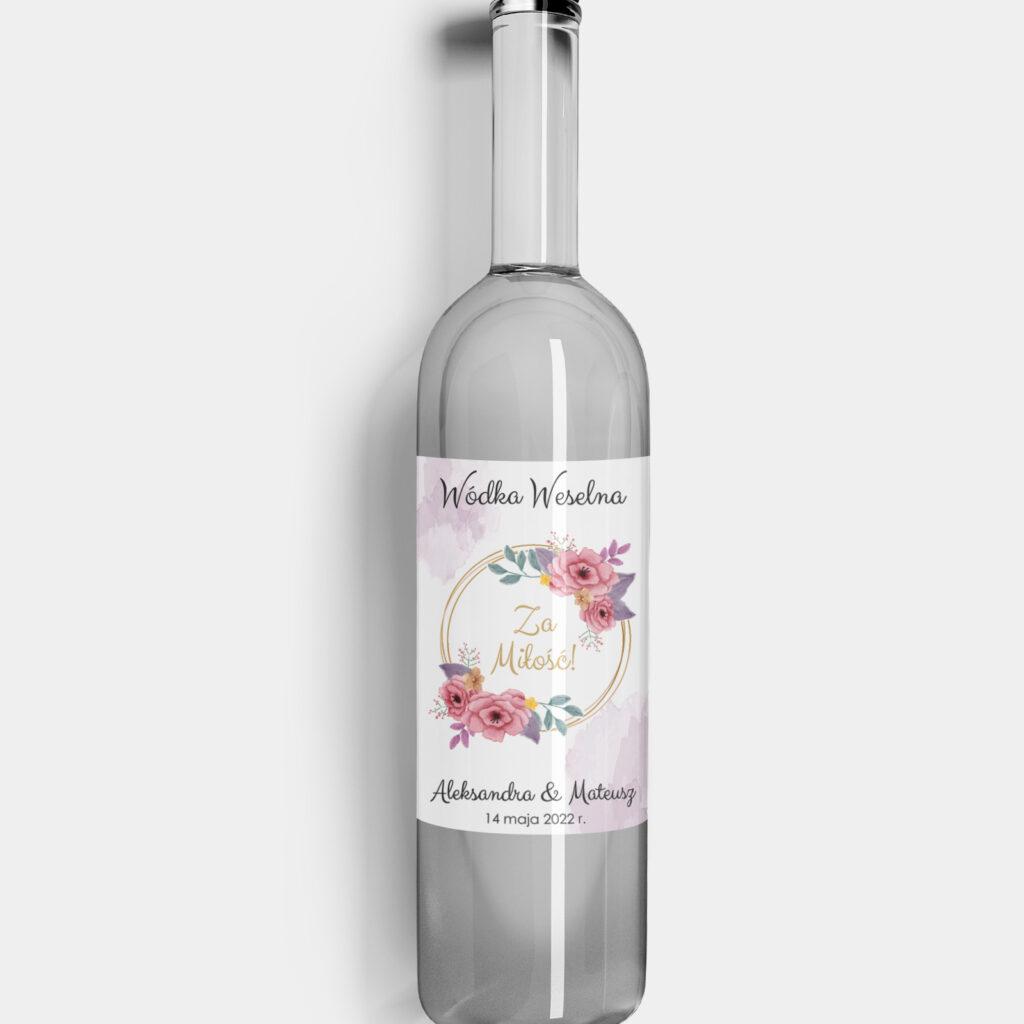 etykieta na alkohol różane