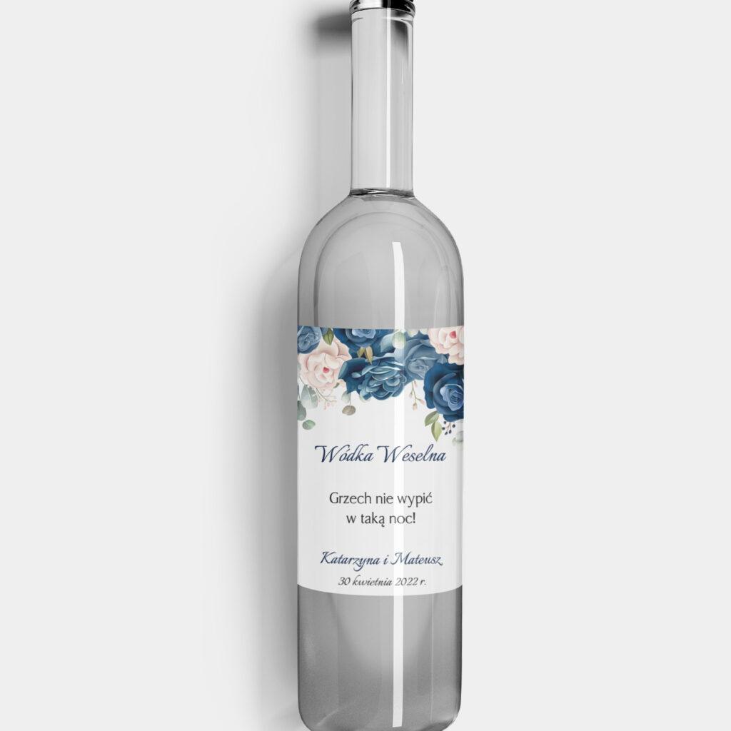 Etykieta na alkohol Szafirowe Róże