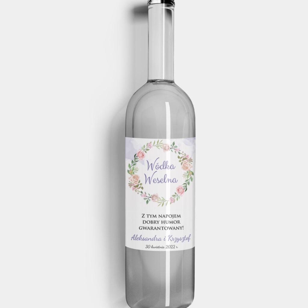 etykieta na alkohol różany wianek