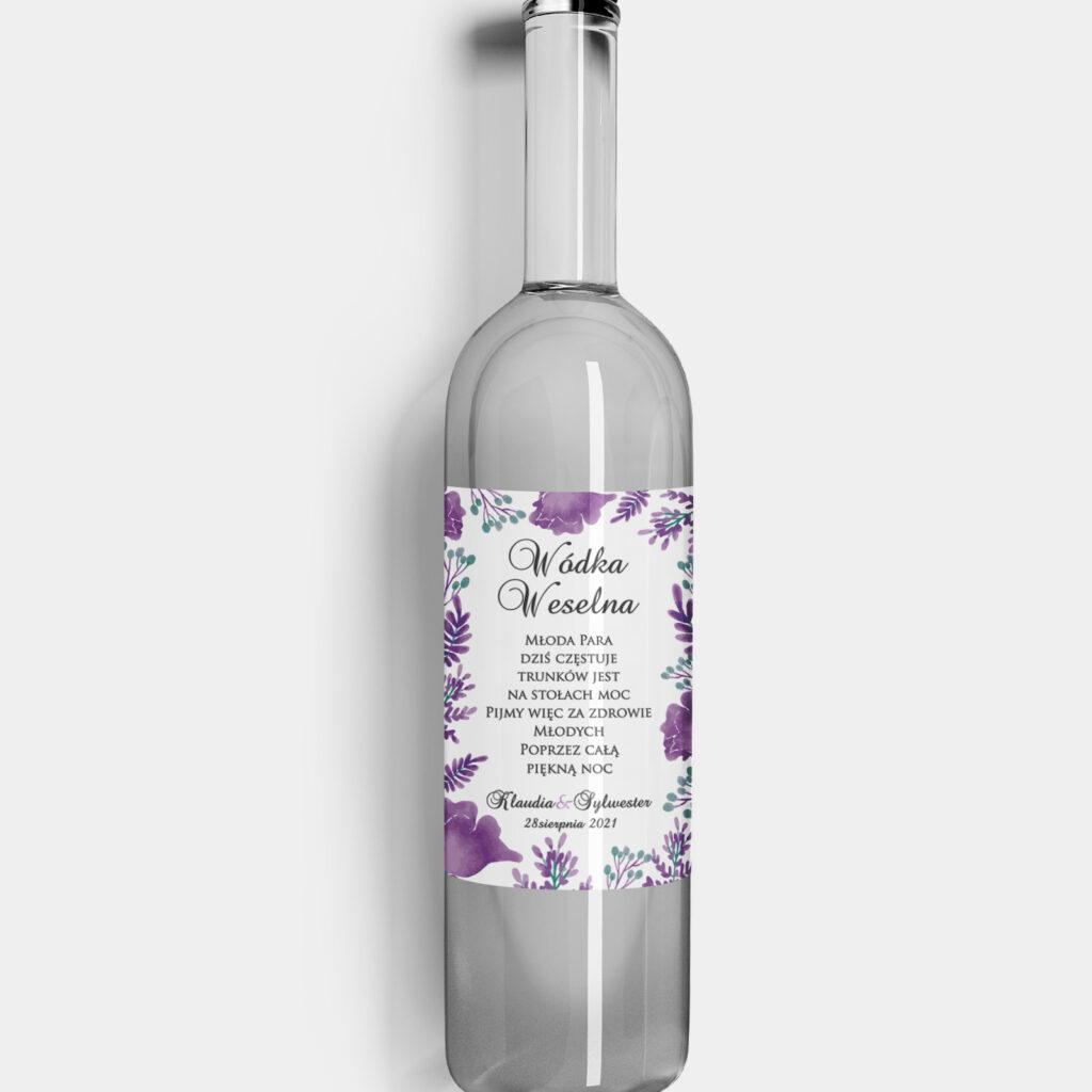 etykieta na alkohol fioletowe kwiaty