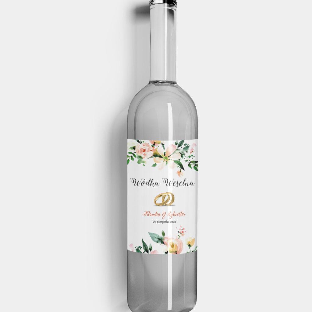 etykieta na alkohol obrączki i kwiaty