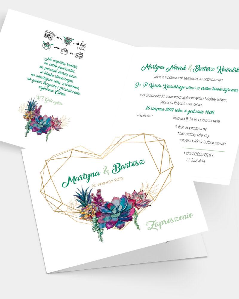 Zaproszenie ślubne Sukulent K4