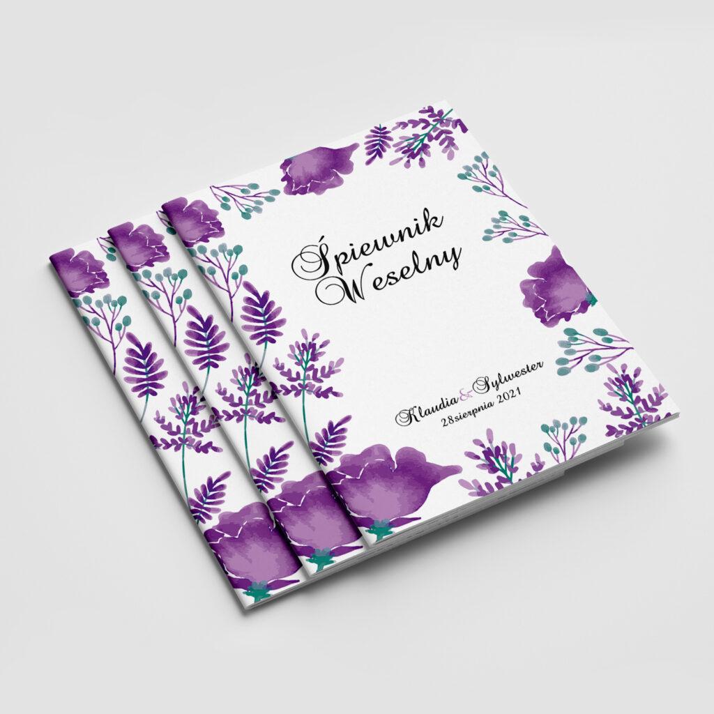 śpiewnik weselny fioletowe kwiaty