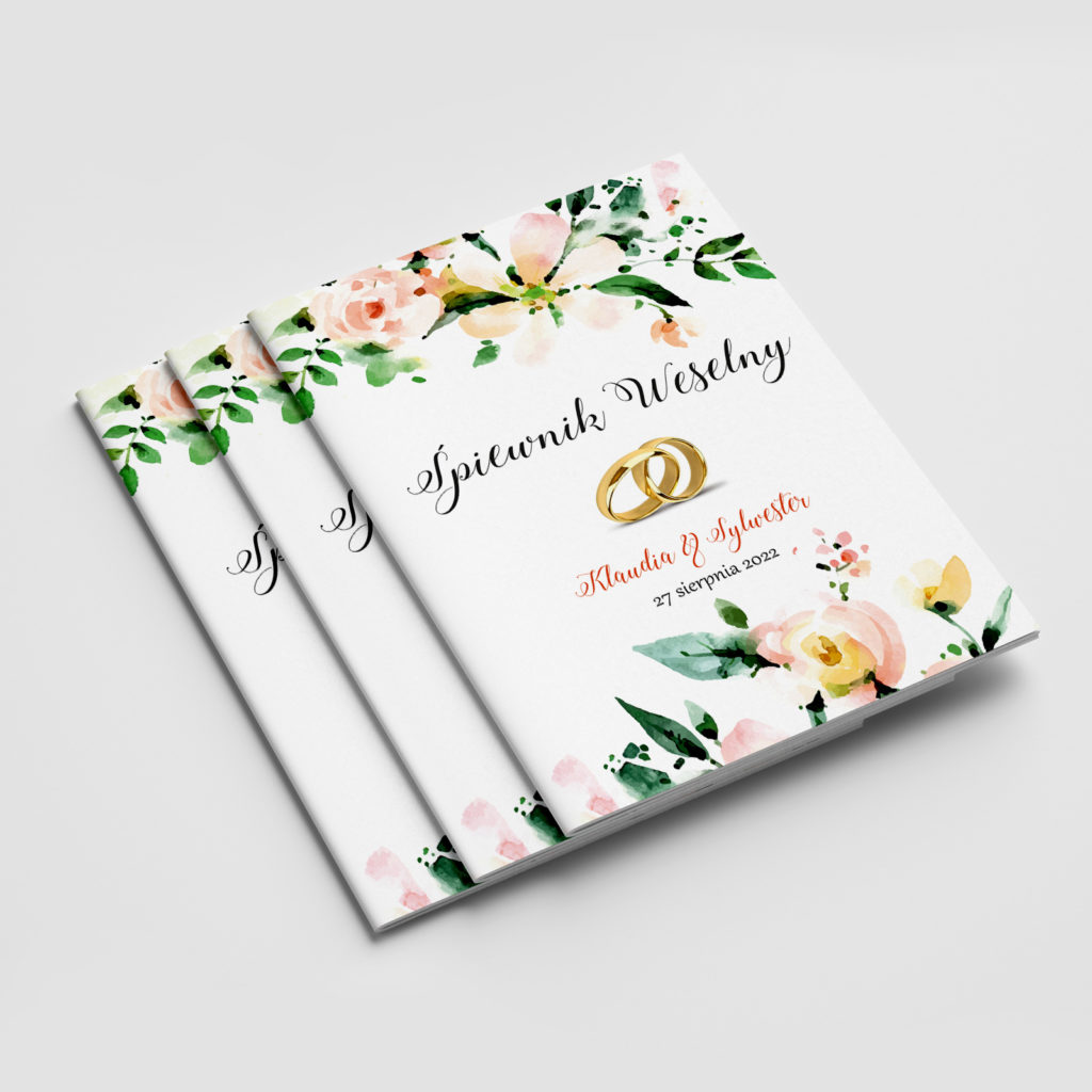 śpiewnik weselny obrączki i kwiaty