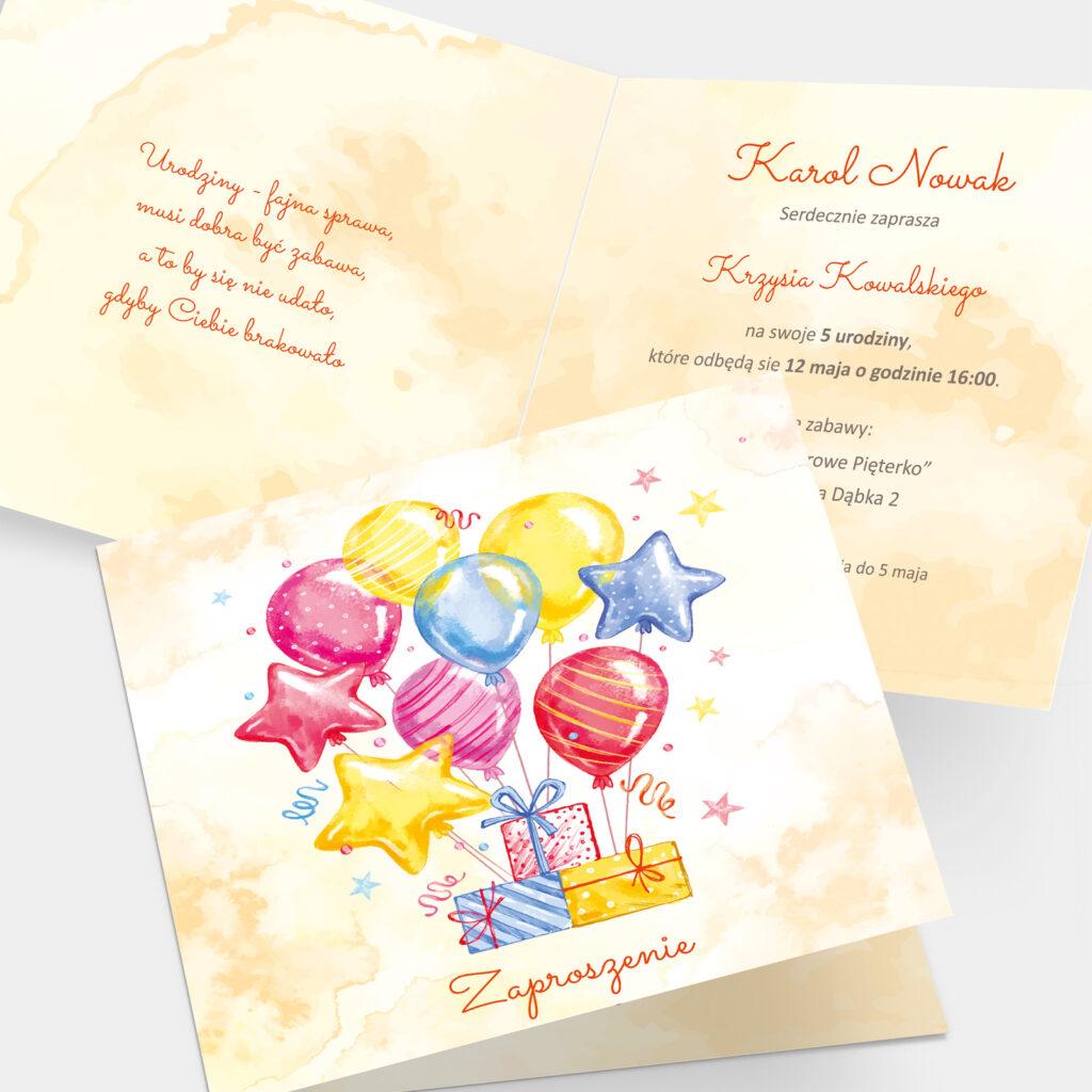 Zaproszenie Urodzinowe Balony K4