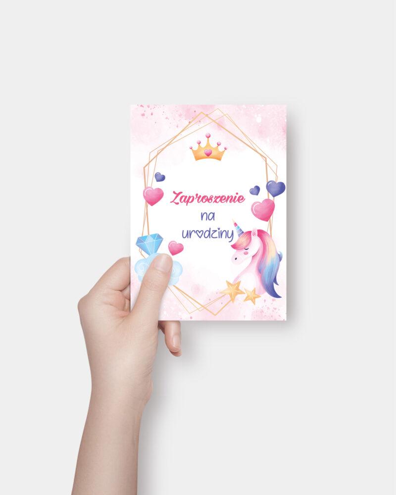 Zaproszenie urodzinowe Różowy Jednorożec A6 Front