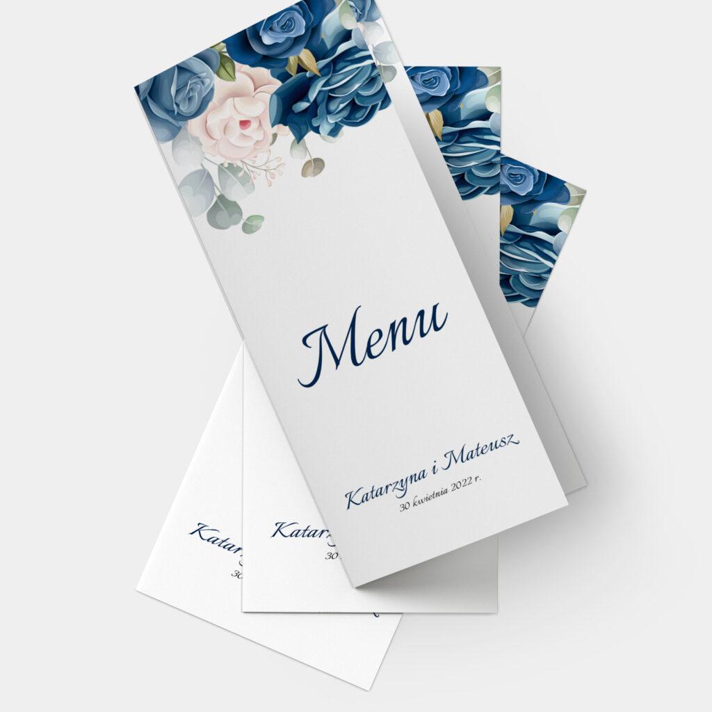 Menu Niebieskie Kwiaty A4 do DL