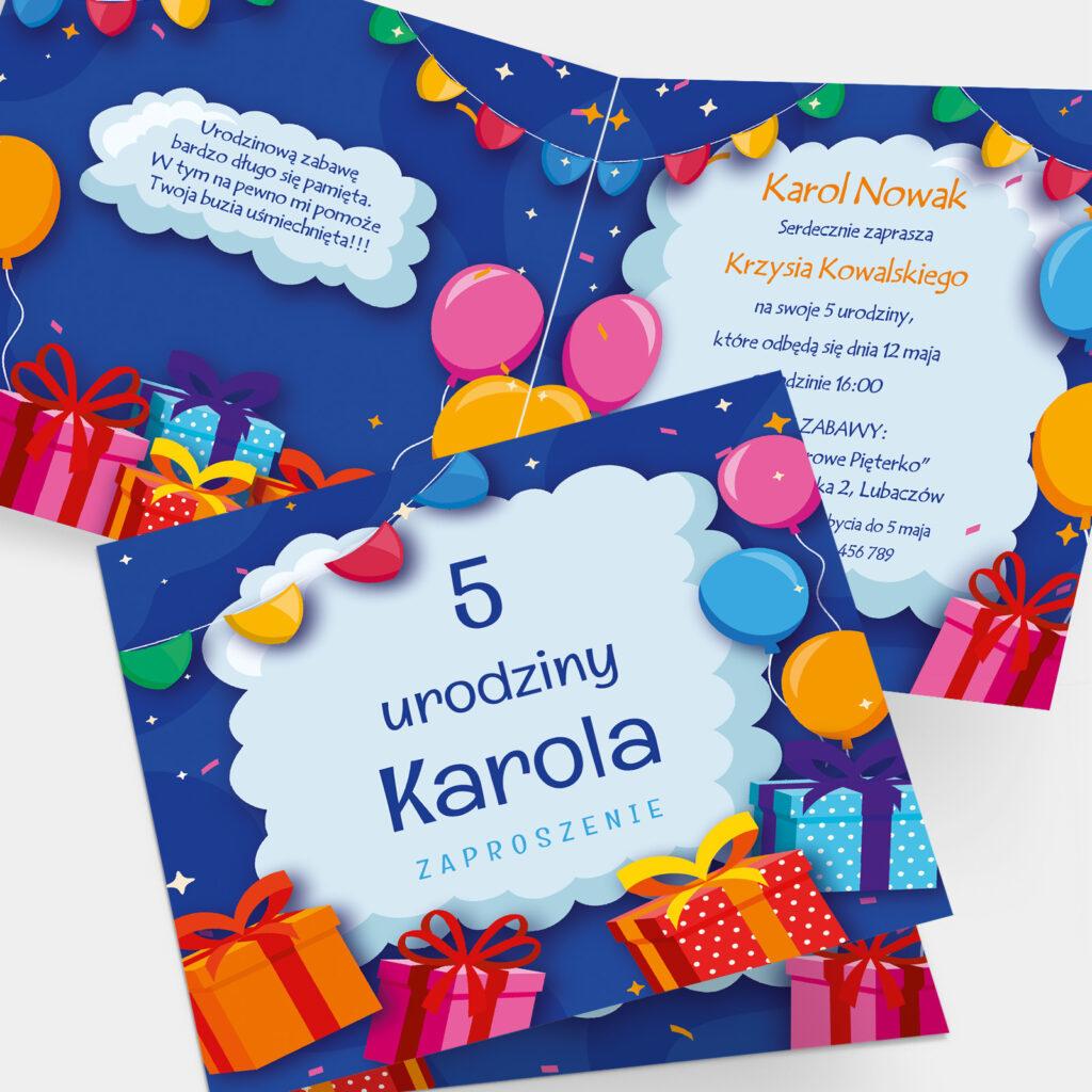 Zaproszenie urodzinowe Prezenty K4