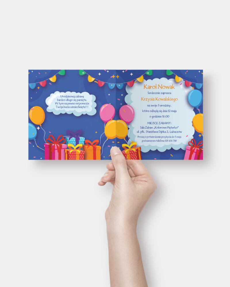 Zaproszenie urodzinowe Prezenty K4 Inside