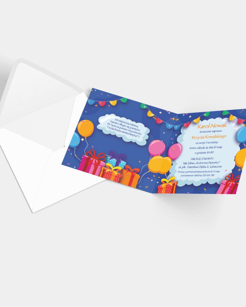 Zaproszenie urodzinowe Prezenty K4 z kopertą