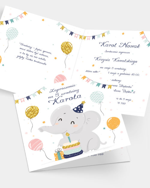 Zaproszenie Urodzinowe Słoń K4