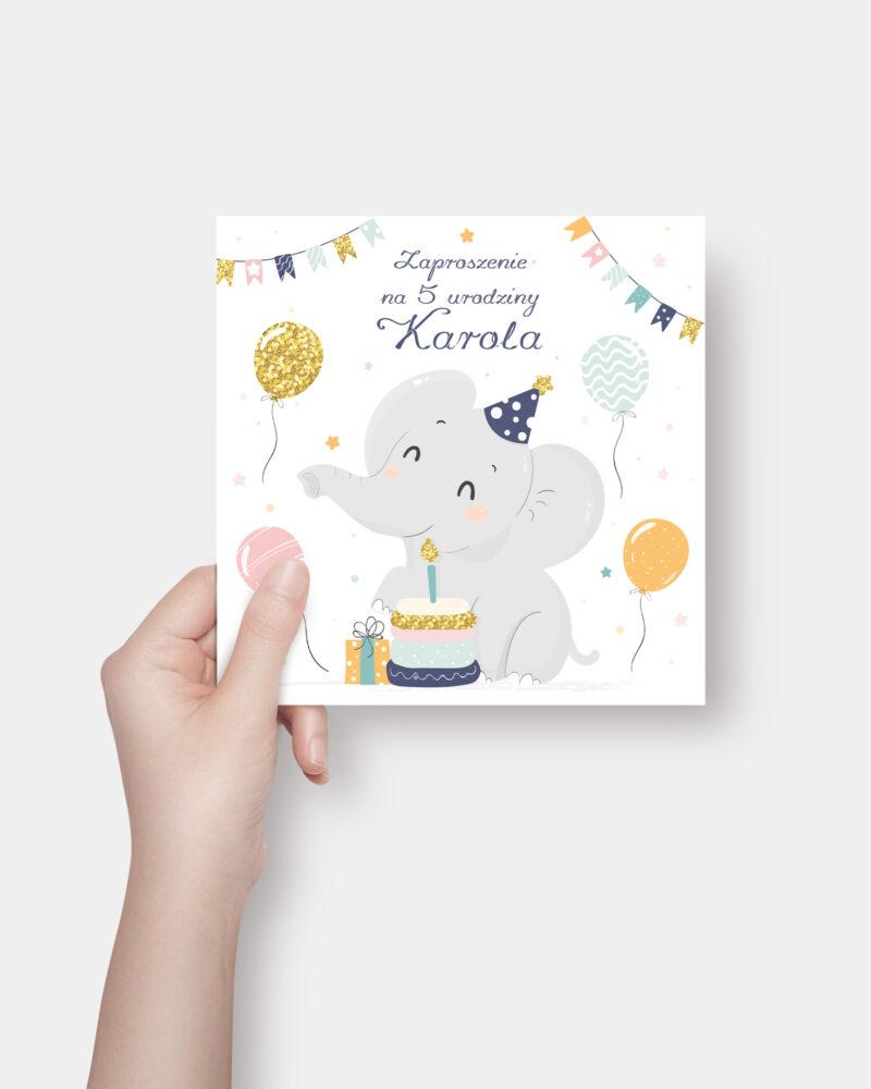 Zaproszenie Urodzinowe Słoń K4 Front