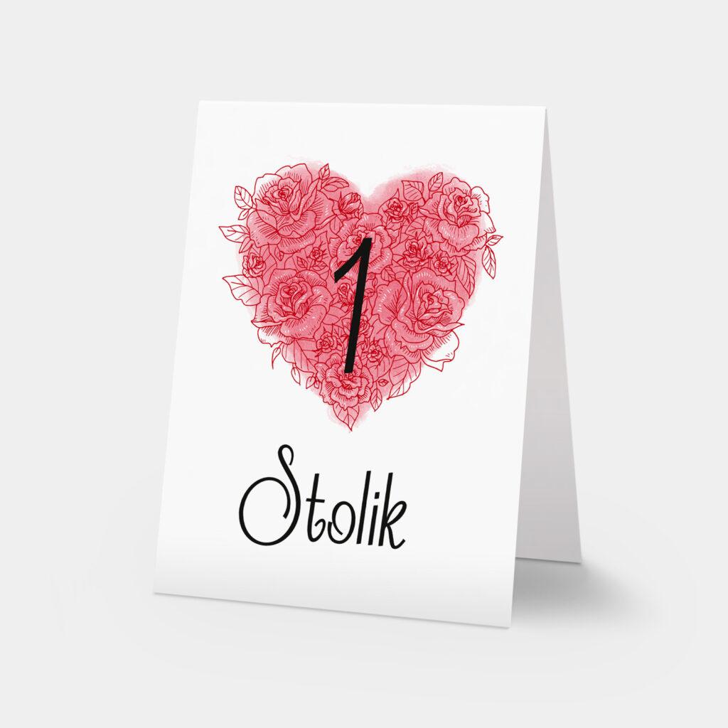 numery stołów valentine