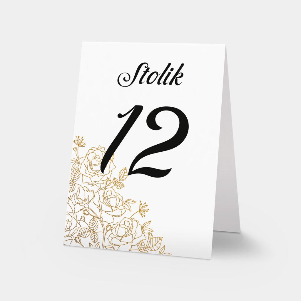 numery stołów złote róże