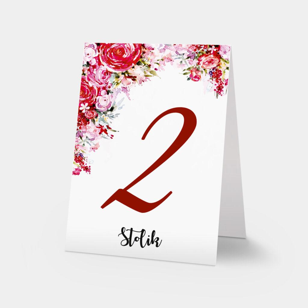 numery stołów red roses