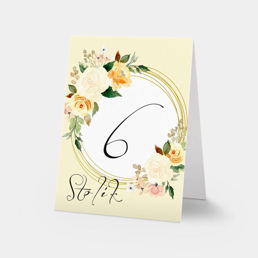 numery stołów jesienne róże