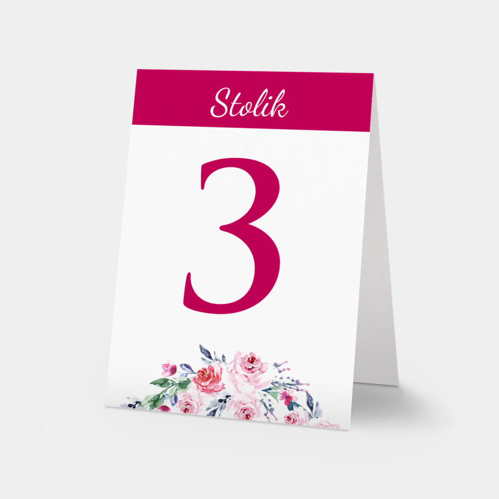 numery stołów malowane akwarelami