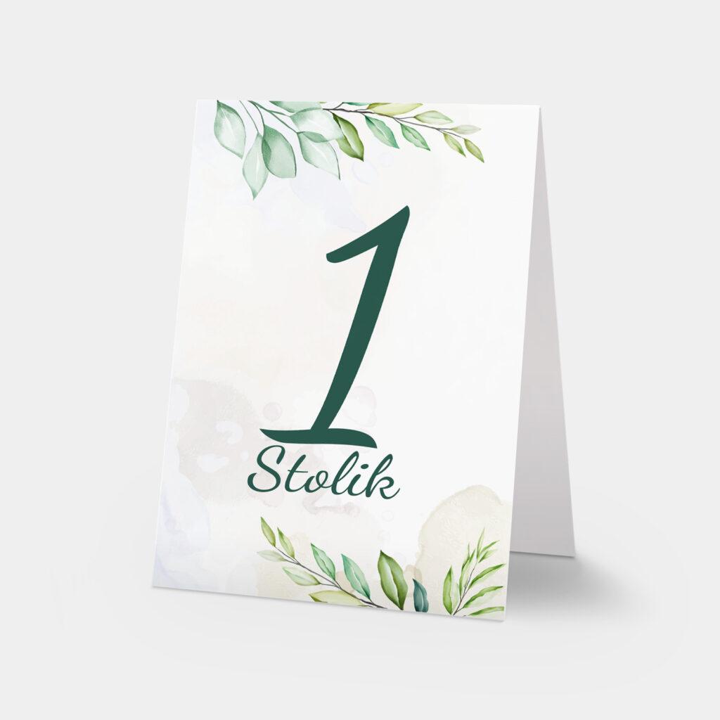 numery stołów zielona gałązka