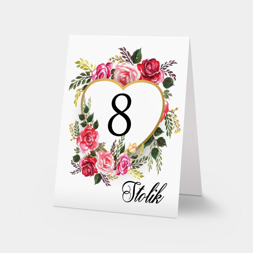 numery stołów różane serce