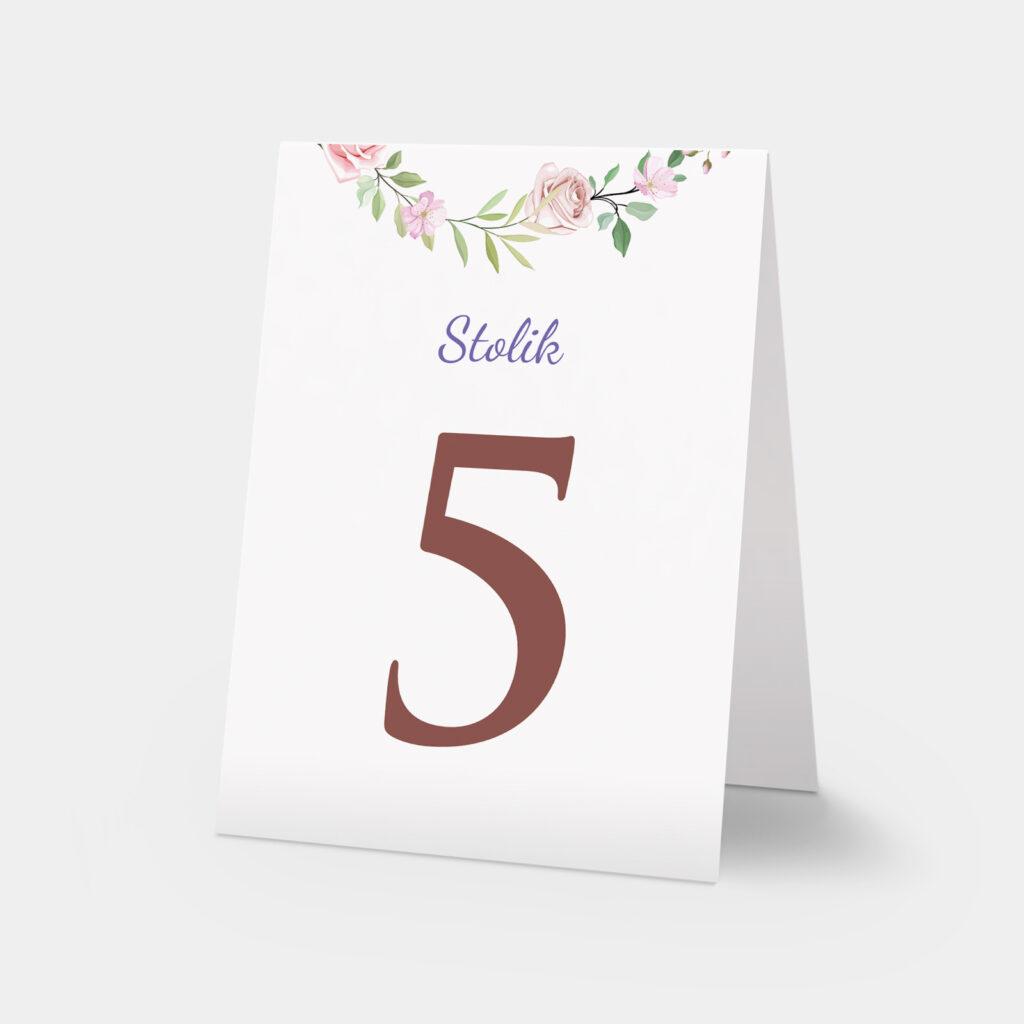 numery stołów różany wianek