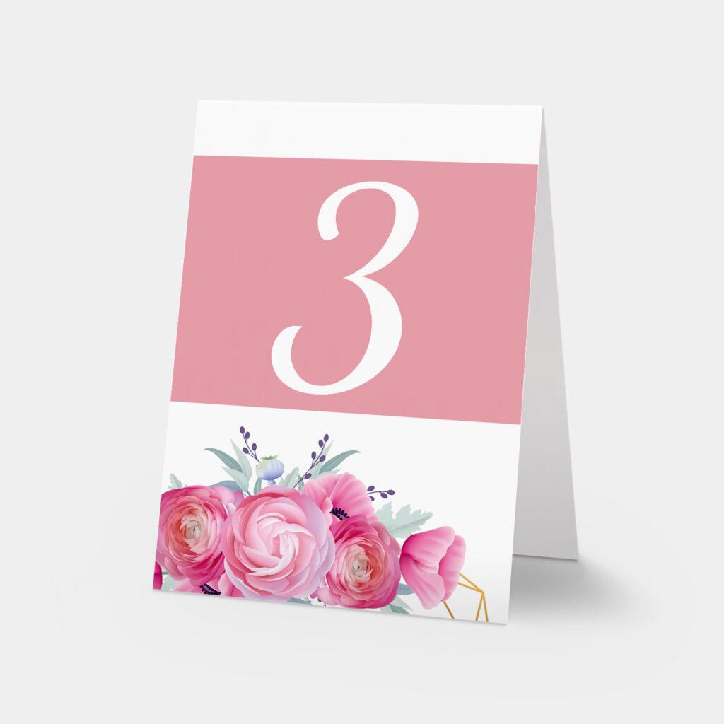 numery stołów w sercu róż