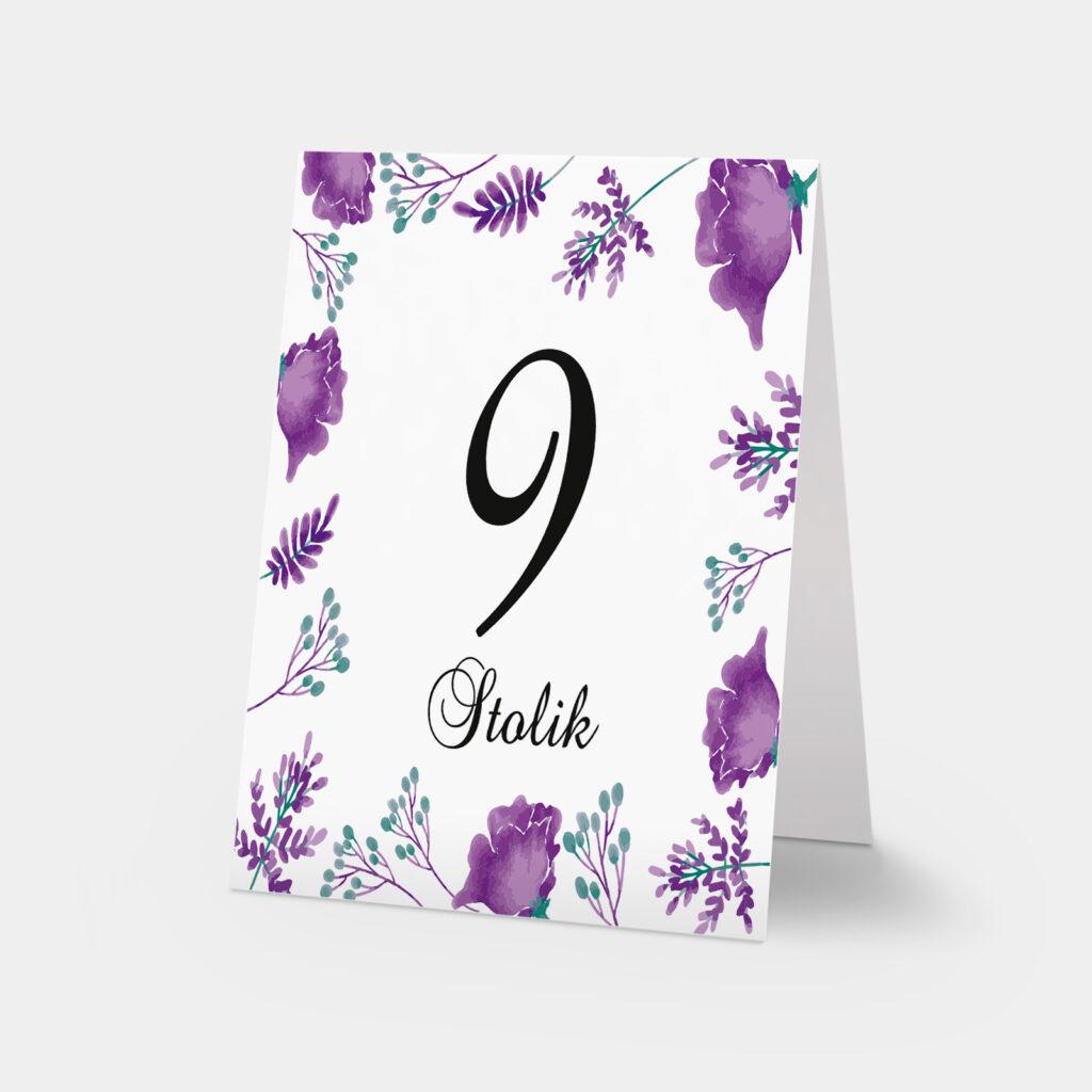 numery stołów fioletowe kwiaty