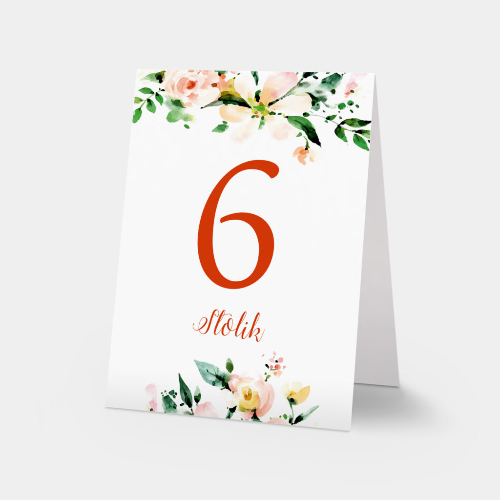 numery stołów obrączki i kwiaty