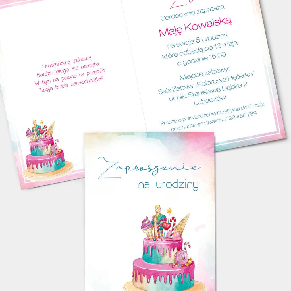 Zaproszenie urodzinowe Torcik A6