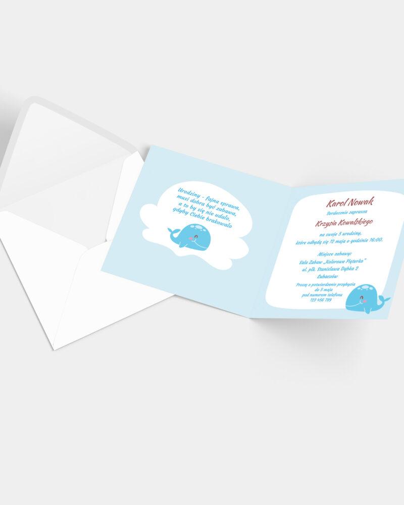 Zaproszenie Urodzinowe Wieloryb K4 z kopertą