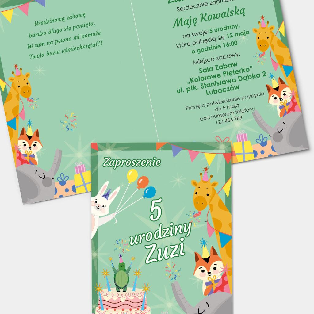 Zaproszenie urodzinowe Zwierzątka A6