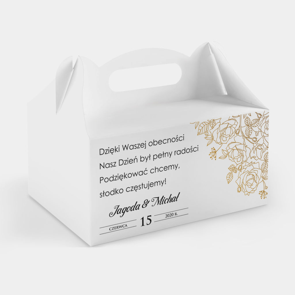 Etykieta na ciasto Złote Róże