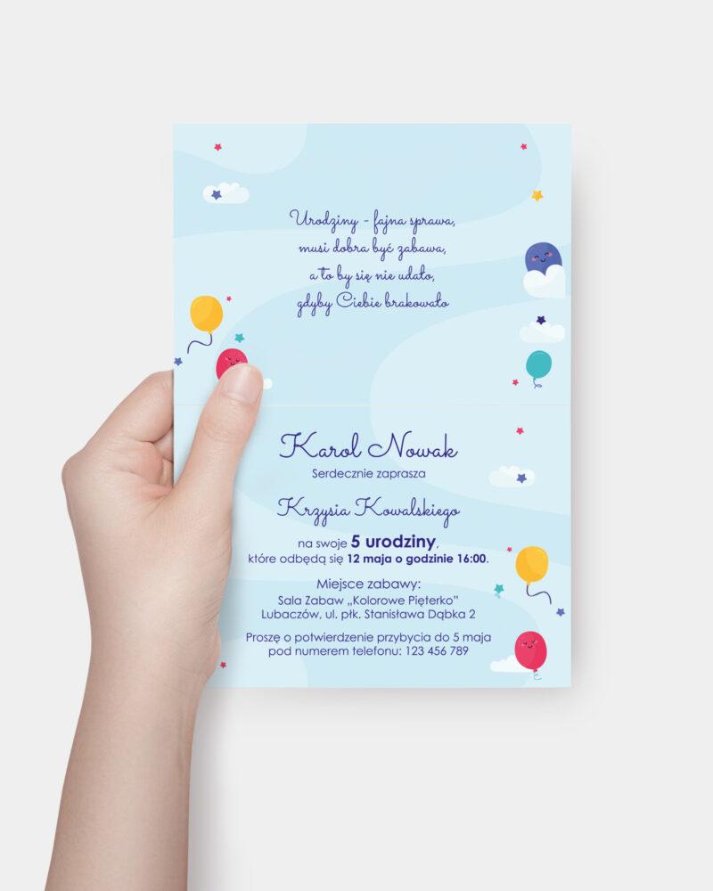 Zaproszenie Urodzinowe Kolorowe Niebo A6 Inside
