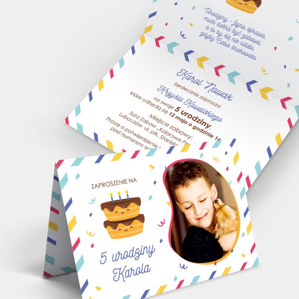 Zaproszenie Urodzinowe Pasiaste A6