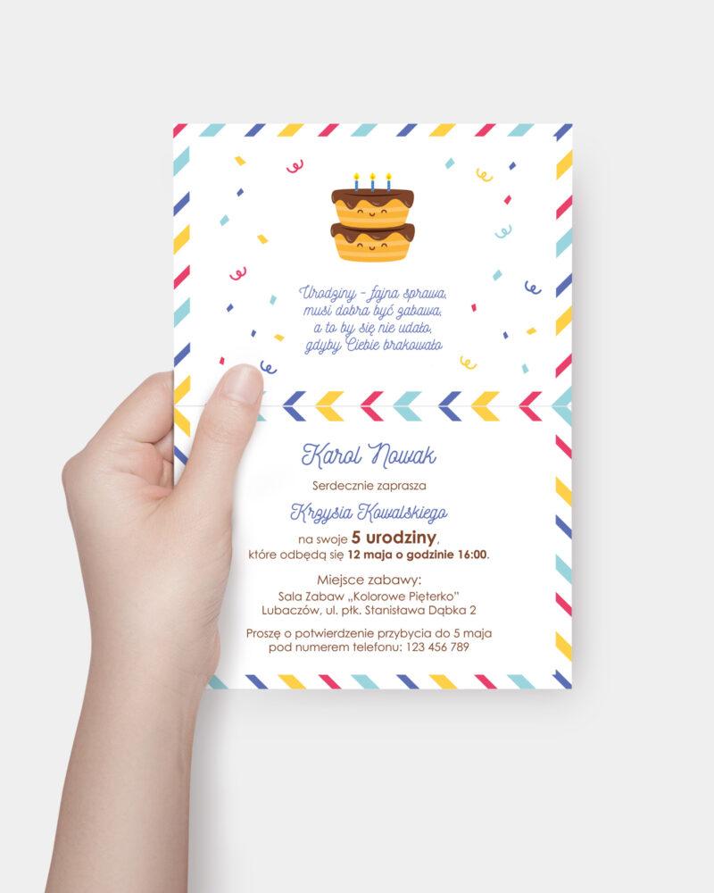 Zaproszenie Urodzinowe Pasiaste A6 Inside