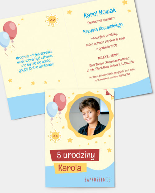 Zaproszenie urodzinowe Słoneczne A6