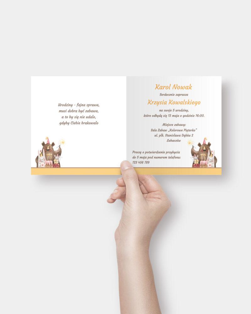 Zaproszenia Urodzinowe Teddy Bear K4 Inside