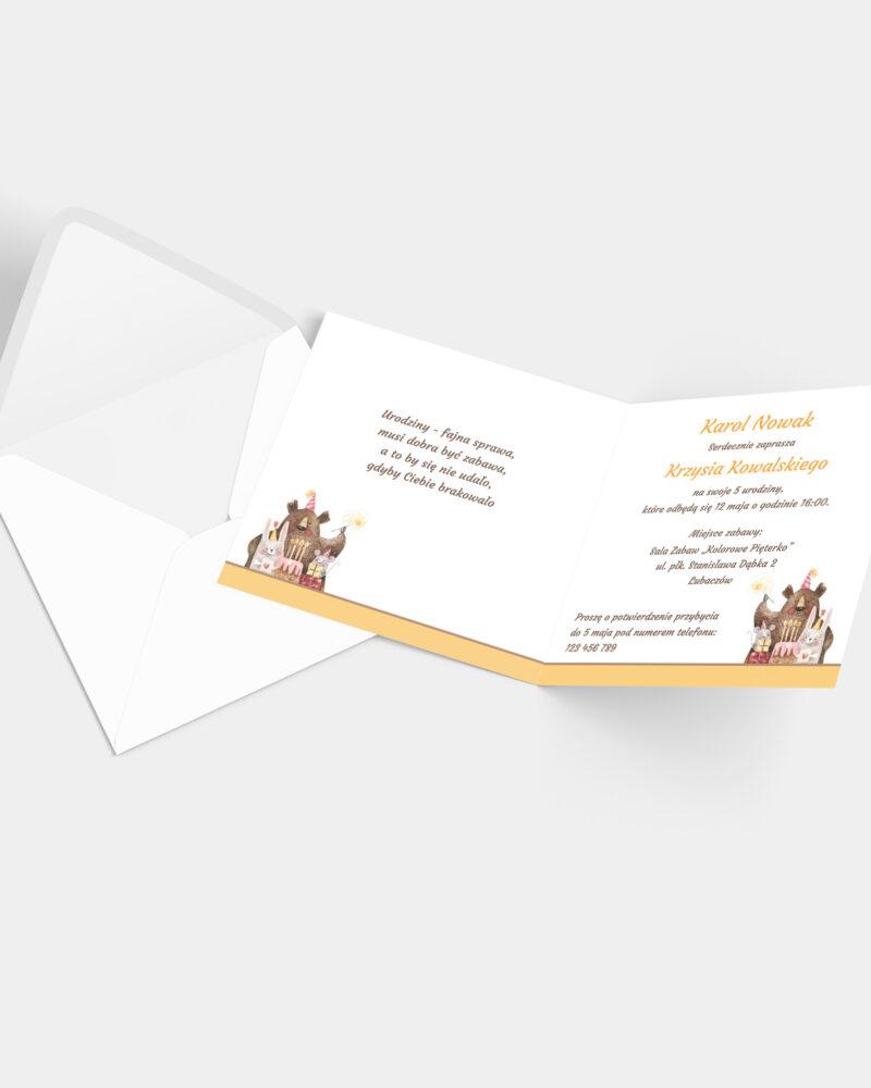 Zaproszenia Urodzinowe Teddy Bear K4 z kopertą