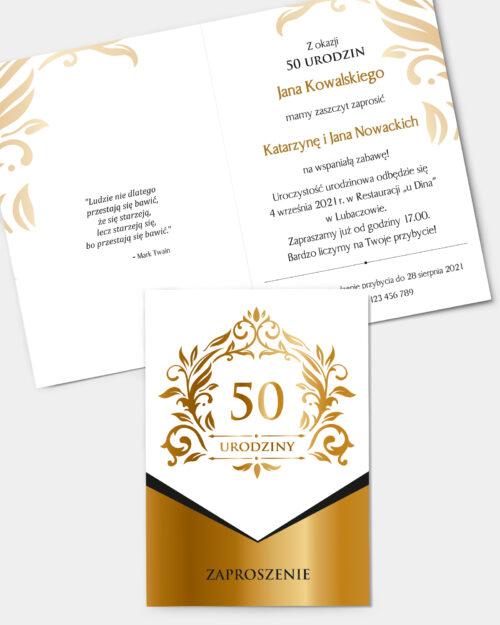 Zaproszenia Urodzinowe Gold Ornament A6