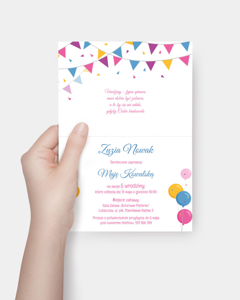Zaproszenie urodzinowe Kolorowa Girlanda A6 Inside