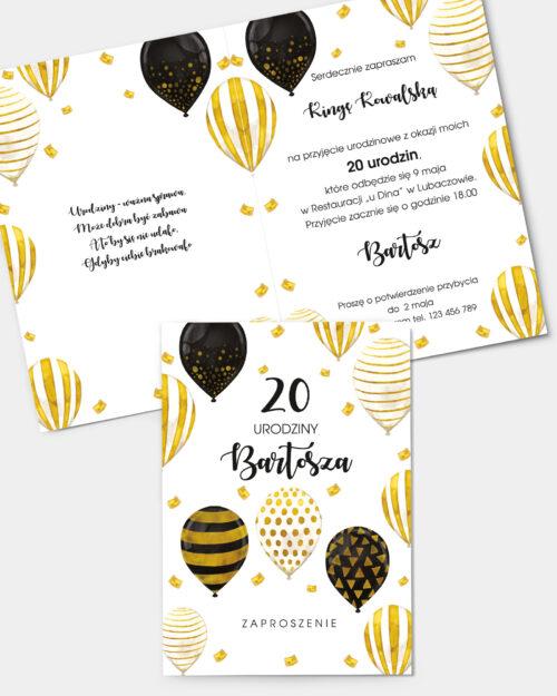 Zaproszenie Urodzinowe Złote Balony A6 Front