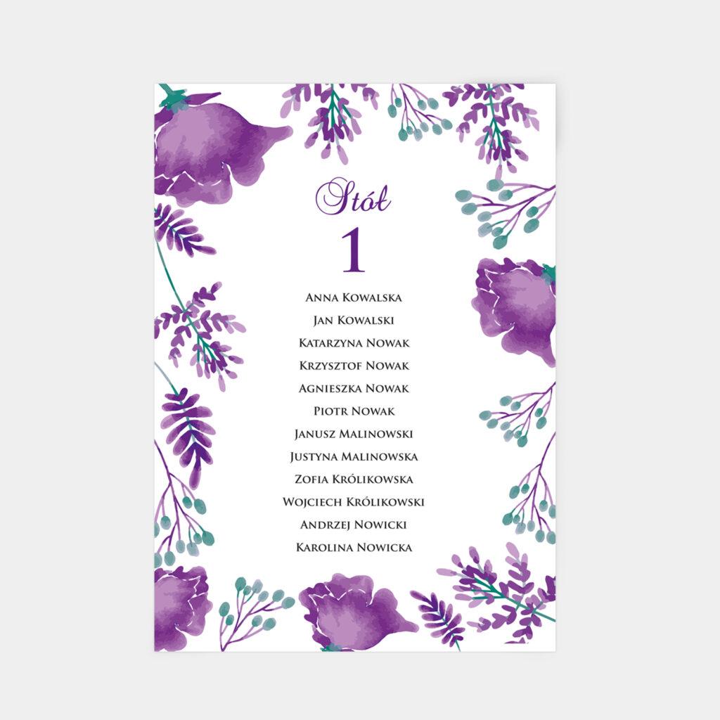 Plan stołów Fioletowe Kwiaty A4